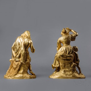 A Pair of Restoration Period Gilt-Bronze Allegorical Groups Depicting Music and Wine