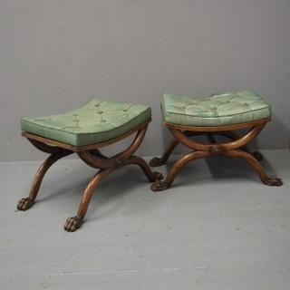 Pair of Regency Beech Stools Attrib. William Trotter