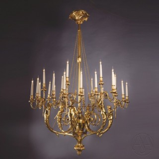 A Magnificent Louis XVI Style Gilt-Bronze Twenty-Four-Light Figural Chandelier