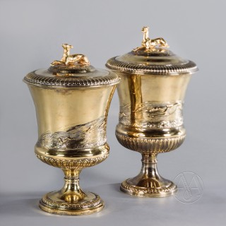 An Unusual Pair of George IV Silver-Gilt Cup and Covers John Bridge for Rundell, Bridge & Rundell