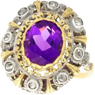 5.92ct Amethyst and 0.32ct Diamond, 18ct Yellow Gold and Silver Set Dress Ring - Antique Circa 1935