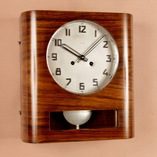 A Very Stylish Walnut Kienzle Art Deco Wall Clock Circa 1940.