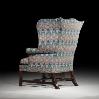 George III Chippendale Mahogany Wing Armchair