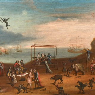 'The European Race': Three Large and Rare 18th century Satirical Paintings