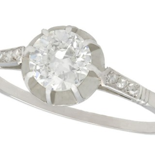 0.74ct Diamond and Platinum Solitaire Ring - Antique French Circa 1920