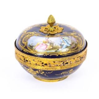 Antique Sevres Bleu Royale Porcelain Pot-Pourri Bowl &Cover Stamped 1846 19th C