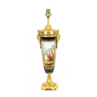 Antique Bleu Royale Sevres Porcelain Ormolu Table Lamp c.1870 19th C