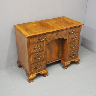 George II Style Walnut Kneehole Desk