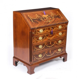 Antique English George III Mahogany & Marquetry Inlaid Bureau 18thCentury