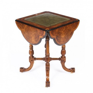 Antique Drop Leaf Burr Walnut Games Writing Table c.1880