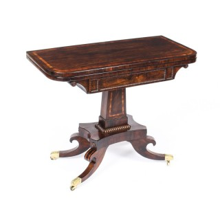 Antique Regency Tigerwood & Crossbanded Card Table c.1825