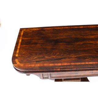 Antique Regency Tigerwood & Crossbanded Card Table c.1825