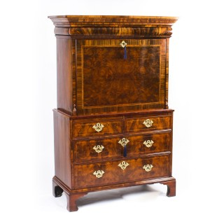 Antique Queen Anne Burr Walnut Secretaire Chest Circa 1710 18th Century