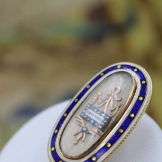 A very fine Georgian High Carat Gold (tested) Enamel & Diamond Souvenir Brooch. Circa 1790