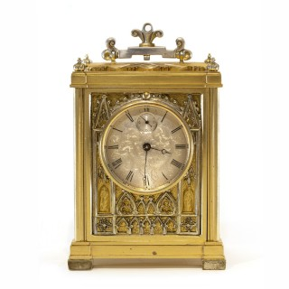 Miniature English fusee Carriage Clock