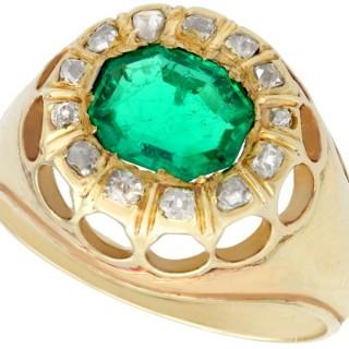 1.22 ct Emerald and 0.26 ct Diamond, 14 ct Yellow Gold Dress Ring - Antique Circa 1900