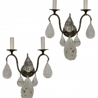 A PAIR OF FRENCH ROCK CRYSTAL WALL SCONCES