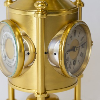 Davy Lamp Clock, Barometer, Thermometer by Guilmet