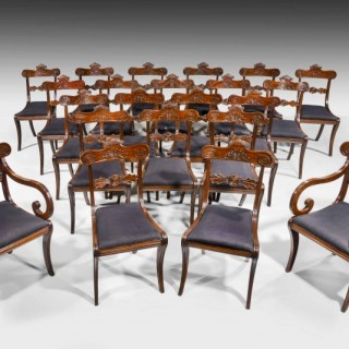 A Fine and Rare Set of 22 (20+2) Regency Period Mahogany Dining Room Chairs