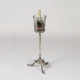 A Silverplate and Baccarat Crystal Champagne Bucket & Stand