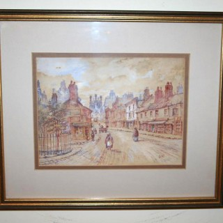 Antique Watercolour Chester Painting (c. 1886)