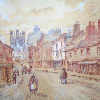 Antique Watercolour Chester Painting (c. 1886)