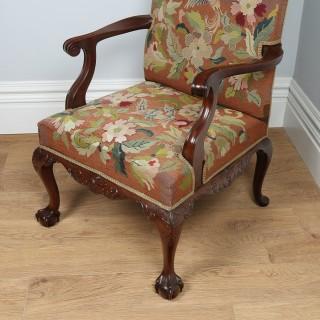 Antique Georgian Chippendale Style Mahogany Open Gainsborough Armchair (Circa 1890)