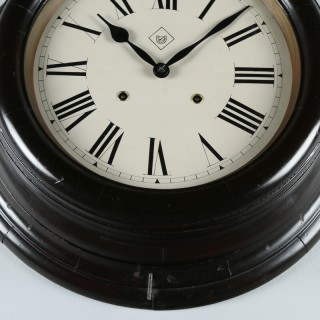 Large Antique 19″ Mahogany Railway Station / School Round Dial Wall Clock (Chiming / Striker)