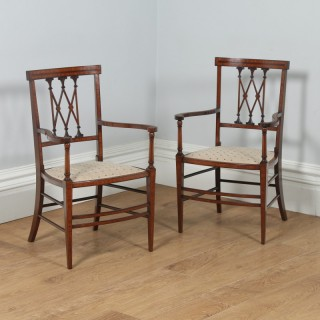 Antique Pair of Edwardian Neoclassical Inlaid Mahogany Salon Chairs / Armchairs (Circa 1900)