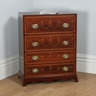 Antique Regency Style Edwardian Inlaid Mahogany Secretaire Chest of Drawers (Circa 1900)