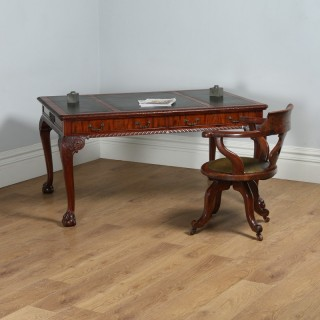 Antique English Georgian Chippendale Style 5ft Mahogany & Leather Library Table Desk (Circa 1880)