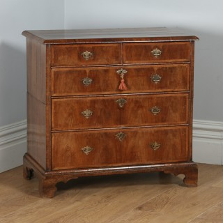 Antique English Queen Anne / Georgian Figured Walnut Two Piece Chest of Drawers (Circa 1710)