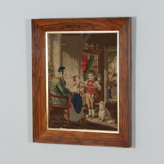 Antique French Needlework Petit Point Wool Tapestry Wall Hanging Picture In Rosewood Frame (Circa 1870)