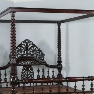 "Antique 5ft 7"" Victorian Anglo Indian Colonial Raj King Size Four Poster Bed (Circa 1880)"