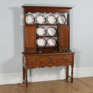 Antique Georgian Style Oak Joined High Dresser Base Sideboard & Rack (Circa 1880)