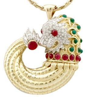 Emerald and Ruby, Diamond and 18ct Yellow and White Gold Dragon Pendant - Vintage Chinese Circa 1950
