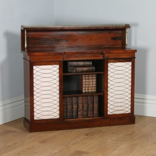 Antique English Regency Rosewood & Brass Chiffonier Bookcase (Circa 1820)