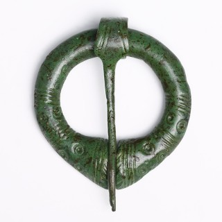 Viking Bronze Penannular Brooch with Geometric Design