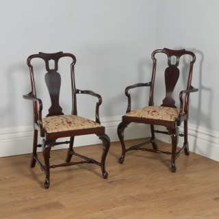Antique English Pair of Queen Anne Style Mahogany Crook Armchairs (Circa 1880)