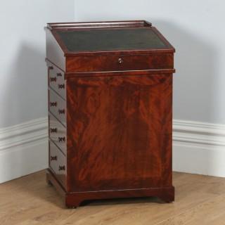 Antique English Georgian Regency Flame Mahogany Davenport Writing Office Desk (Circa 1820)