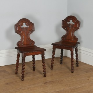 Antique English Victorian Pair of Gothic Style Carved Oak Hall / Side Chairs (Circa 1860)