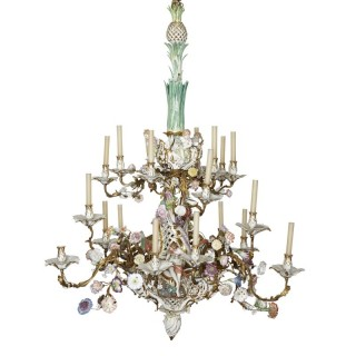 KPM porcelain and gilt bronze chandelier