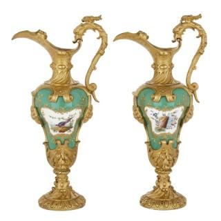 Pair of gilt bronze mounted porcelain vases in manner of Sèvres