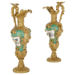 Pair of gilt bronze mounted porcelain vases in manner of Sèvres