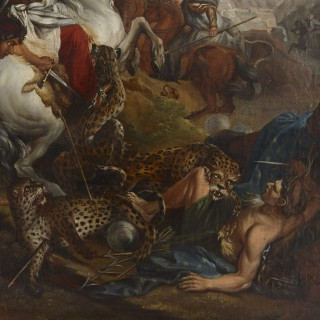 French Old Master painting of a leopard attack