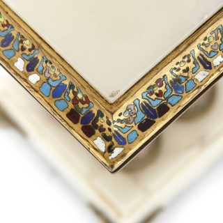 Champlevé and cloisonné enamel mounted white onyx and gilt bronze table