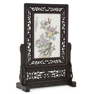 Hardwood and painted porcelain Chinese screen