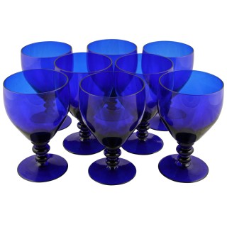 Eight Edwardian Bristol Blue Glass Rummers