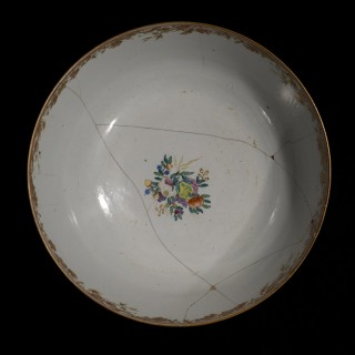 18th Century Chinese Export Porcelain Bowl with Old Staple Repairs