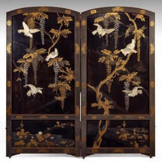 Fine 19th Century Japanese Lacquer Screen
